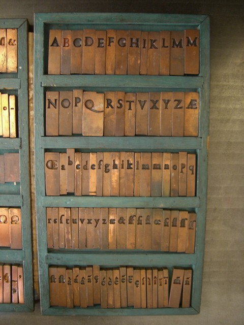 les matrices de Garamond. Musée Pantin