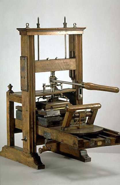 presse typo à deux coups, XVIIIe siècle.MAM